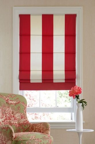 Red And White Striped Roman Shade With Bottom Banding Rear Battens
