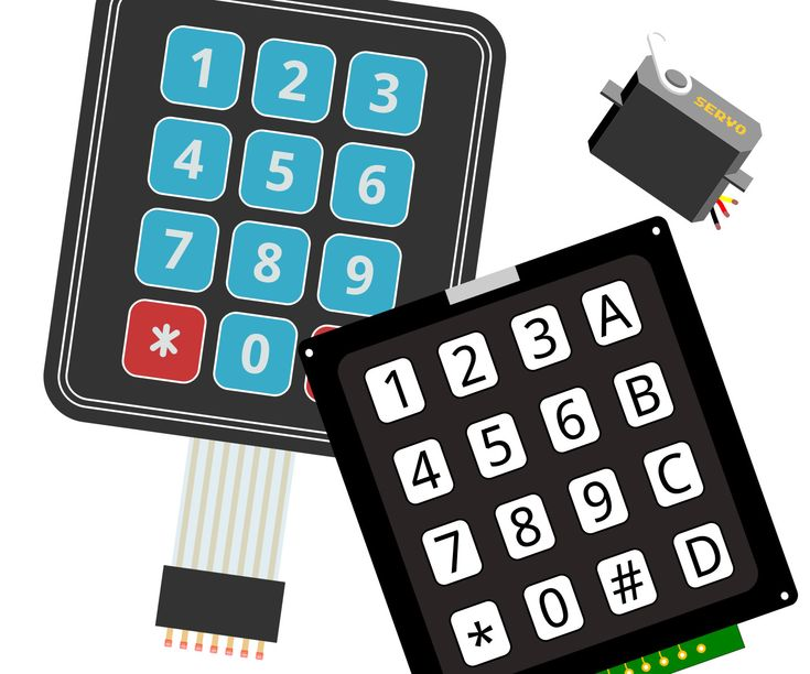 For this project, we will take input from a keypad, process that input as an angle position, and move a servo motor based on the 3-digit angle acquired. The parts...