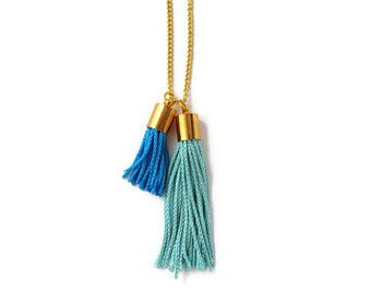 Long Tassel Necklace Charm and Tassel Necklace by amandadeer