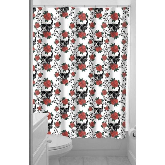 """Skulls and Roses"" Shower Curtain by Inked"