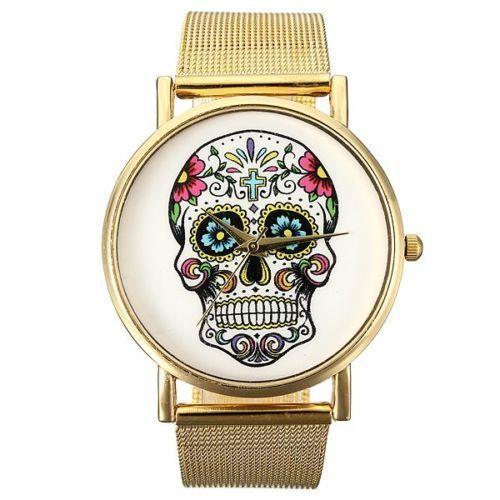 Woman Gold Stainless Steel Mesh Band Big Dial Round Quartz Wrist Watch #Fashion