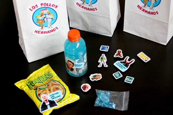 Breaking Bad Party Favors... I would also alternate the Los Pollo bags with plain brown lunch bags with WALT written on them in sharpie