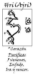REIKI TIBETANO TANTRICO. HRI(AJRI): Corazon, color BLANCO. Purifica: 5 venenos, Enfado, Ira  y rencor. BUDDHA (Chenrezig), Elemento ().  Los 5 venenos: Orgullo, Apego, Ignorancia, Ira, Celos. Util para casos de cancer de mama , cancer en general y Sida. Esta silaba es la esencia iluminada del Amor.