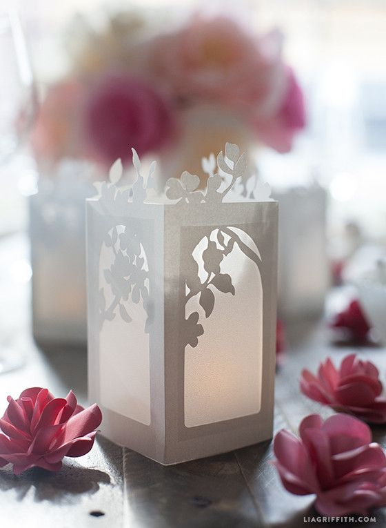 Spring in Bloom Paper Lanterns - Lia Griffith w/ downloadable template Put tea lights inside (in votives that calvin provides)