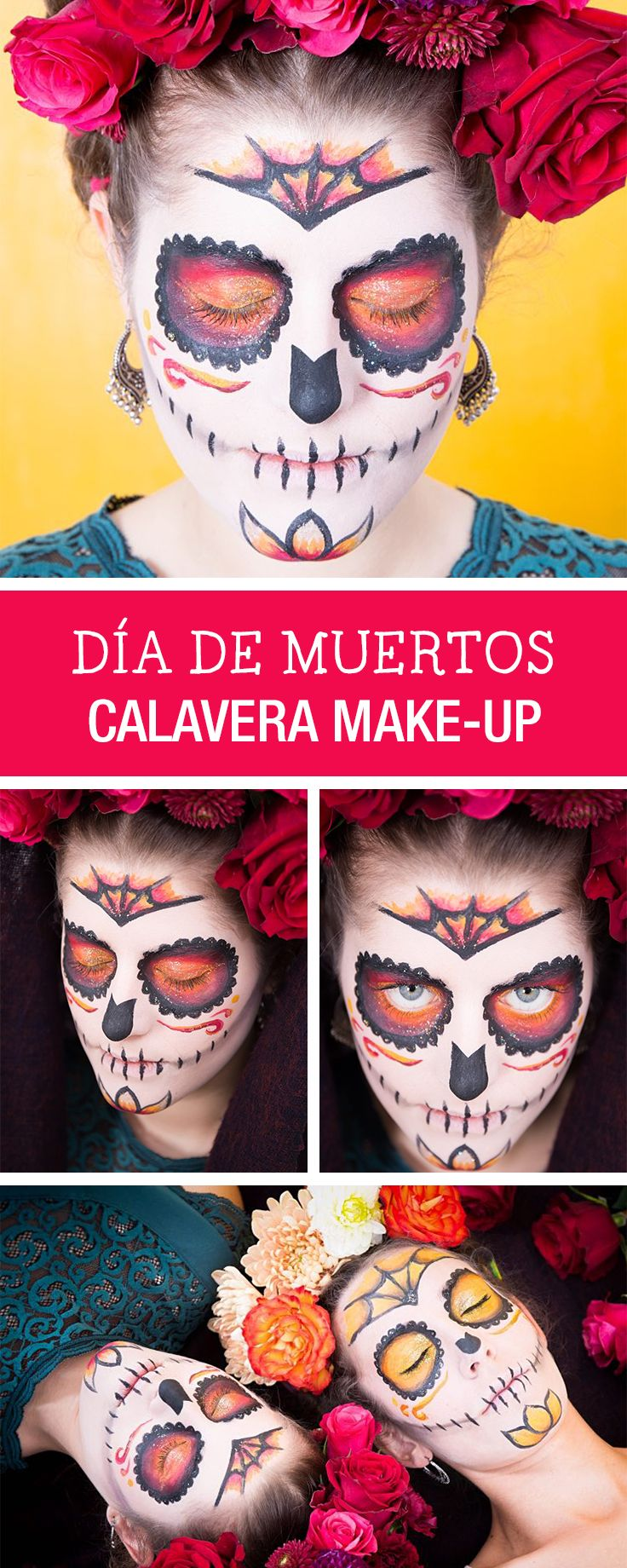 Dia de Muertos: Calavera Make-Up selbermachen, Halloween Kostüm / perfect halloween costume: how to make a calavera make up via DaWanda.com
