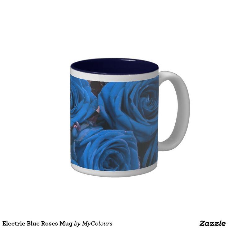 Electric Blue Roses Mug