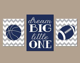 SPORTS Wall Art, Dream Big, CANVAS or Prints, Boy Bedroom Pictures, Sports Theme Decor, Baby Nursery Artwork, Basketball Football, Set of 3