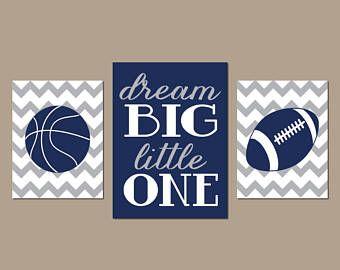 SPORTS Wall Art, Dream Big, CANVAS or Prints, Boy Bedroom Pictures, Sports Theme Decor, Baby Nursery Artwork, Basketball Football, Set of 3
