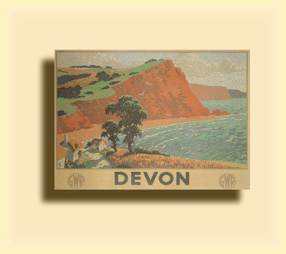 DEVON by Ronald Lampitt - 1936 - Vintage Travel Poster United Kingdom SG4758