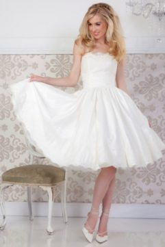 Audrey Lynn Vintage Bridal Tara Dress | Strapless tea length wedding dress made from tafetta with beaded lace bodice and gathered circle skirt with lace trim