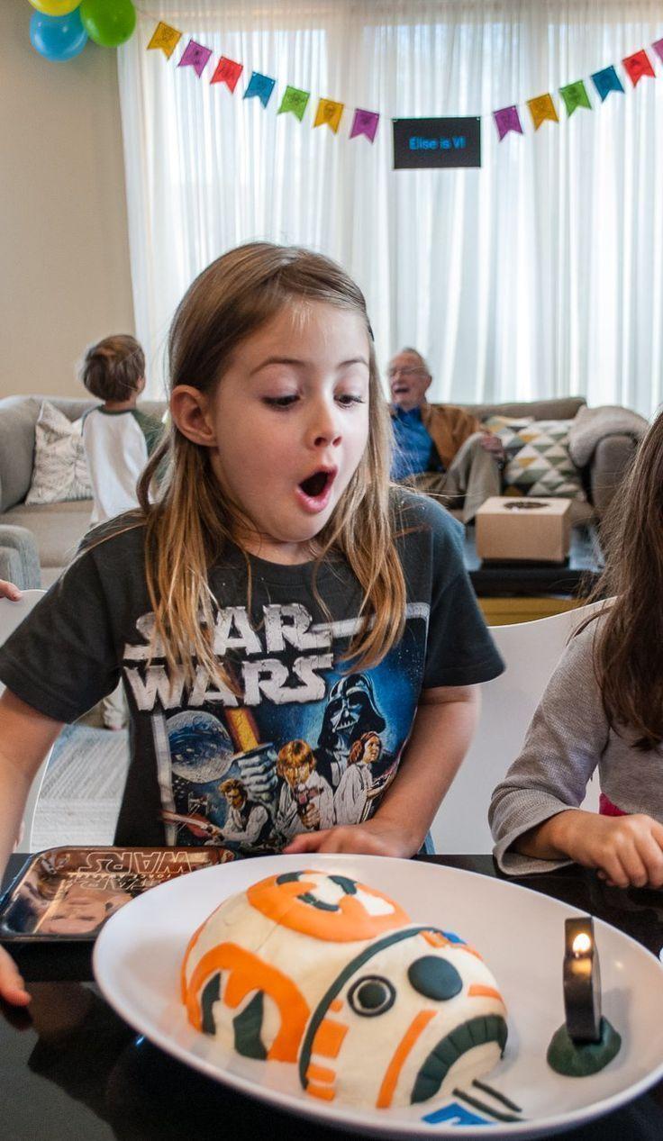 Decorate an Easy Star Wars BB-8 Birthday Cake! Easy BB8 Cake for a Star Wars birthday party. #birthday #birthdayparty #cake #kidsparty #starwars #bb8