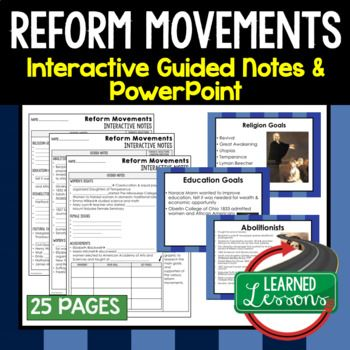 Reform Movements Interactive Guided Notes and PowerPoints American History ➤American History Guided Notes ➤American History Interactive Notebook ➤American History Note Taking ➤American History PowerPoints ➤American History Anticipatory Guides