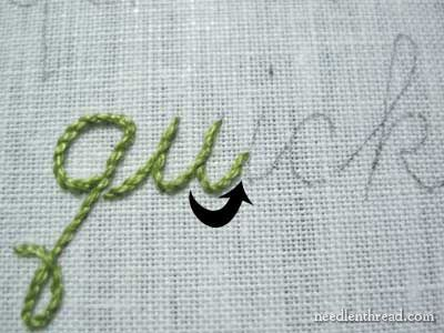tutorial for stitching cursive ~ wonderful way to surface embellish a crocheted project