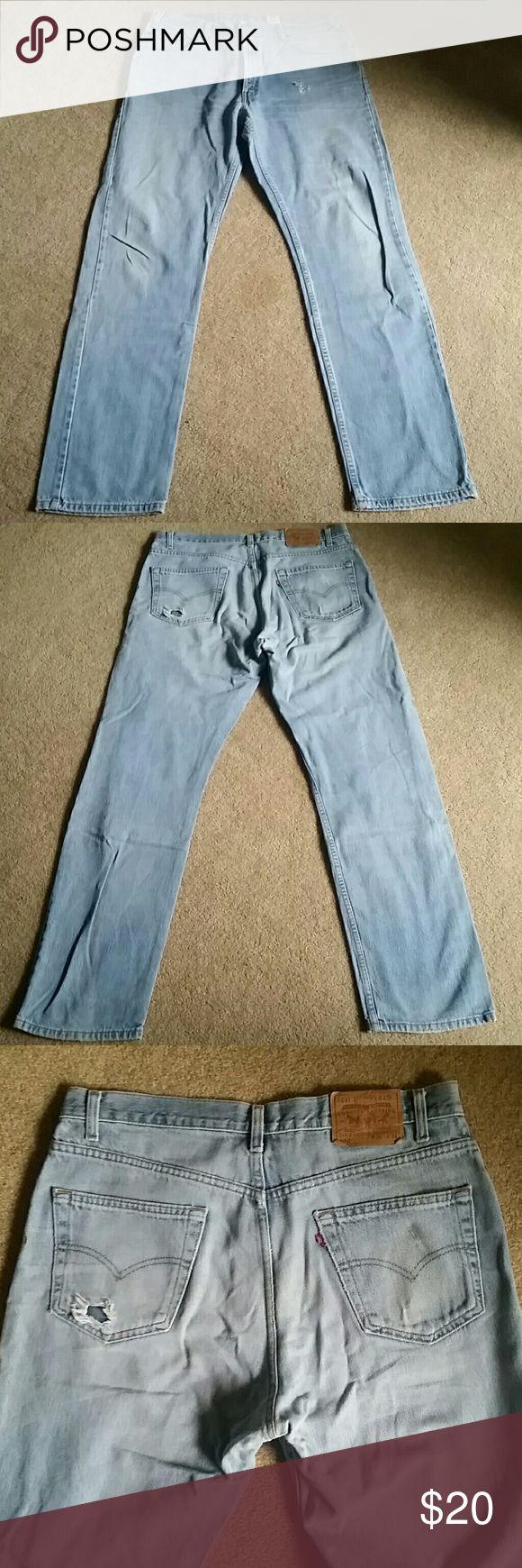Mens LEVI 505  jeans. Regular Fit Straight Leg LEVI 505 JEANS. REG FIT. STRAIGHT LEG. Light blue wash distressed jeans. like new cond. Size 36 X 34. Levi's Jeans Straight