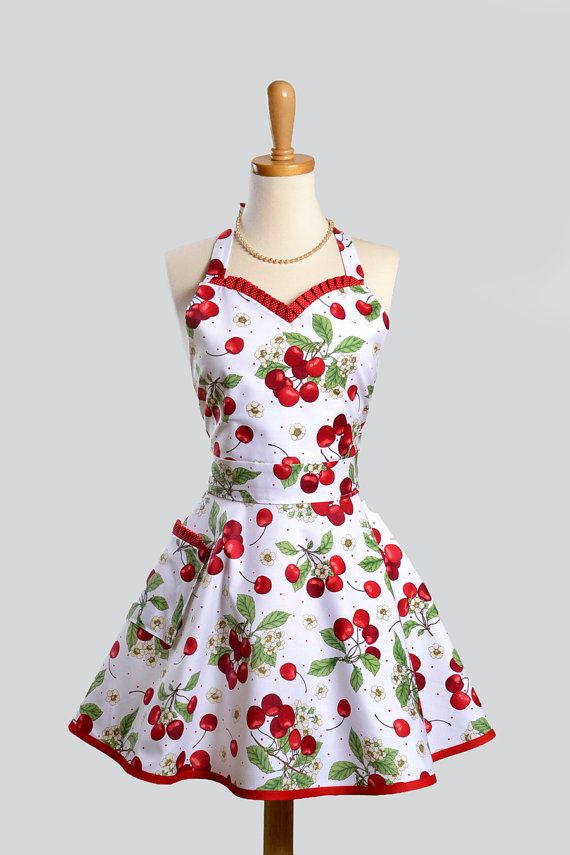 Vintage apron Cherries w/ white background