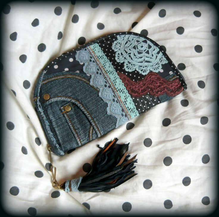 Handmade by Judy Majoros - Denim-crochet wallet-clutch with polka dots, and leather fringe. Recycled wallet-bag.