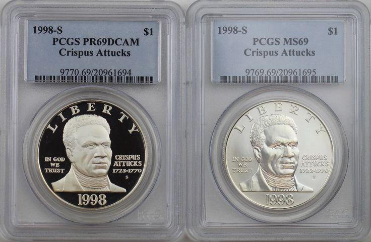 1998-S Crispus Attucks Commemorative Two Silver Dollars Set PCGS PR69DC & MS69