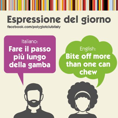 Italian / English idiom: bite off more than one can chew
