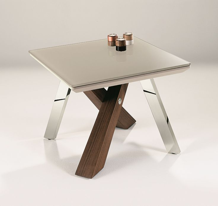 Jupiter Lamp Table - Grigio glass top set on matching lacquered base legs in walnut and chrome
