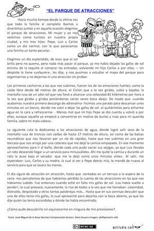 """Lecturas con misterio: """"El parque de atracciones"""""""