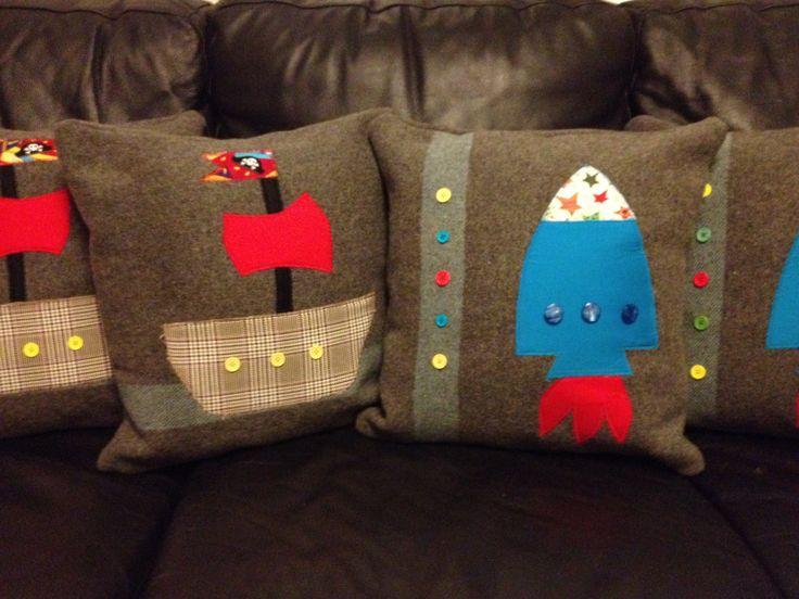 Boys wool blanket cushions...pirate ship & rocket