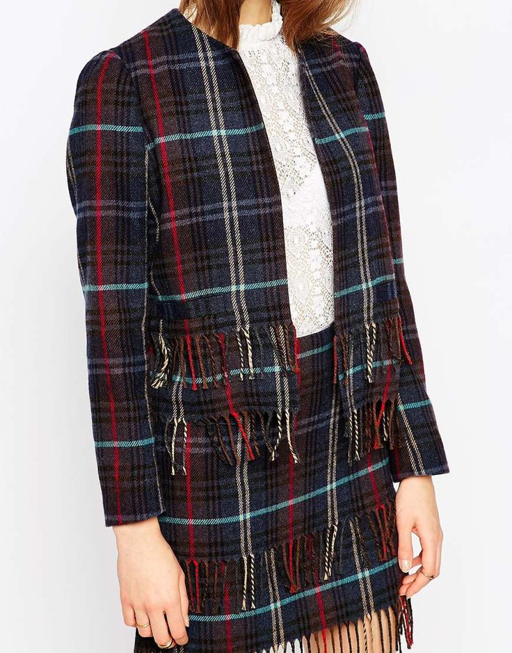 Image 3 of ASOS Premium Cropped Blazer in Check with Fringe Detail Co-ord