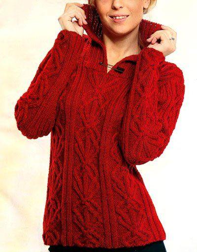красный пуловер с рельефным узором