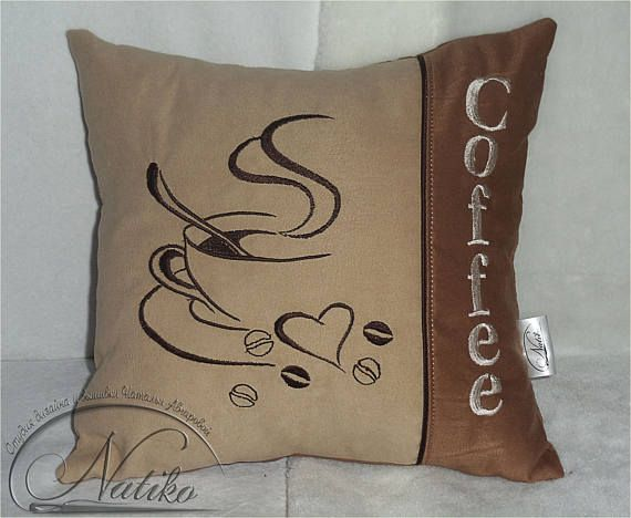 coffee shop decor Gift pillow for her Pillow cover Designer pillow Sofa pillows Coffee decor But first coffee Embroidered pillow