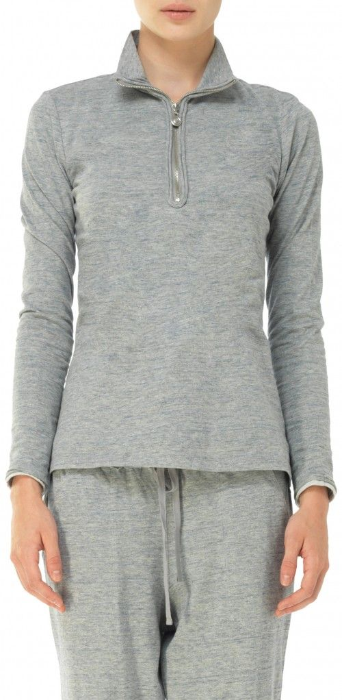 LEON MAX JERSEY ZIP UP MOCK LONG SLEEVED TEE. #leonmax #cloth #