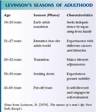 Daniel Levinsonin teoria aikuisuuden eri vaiheista. Aikuisiän kehitykselle on tyypillistä vakaiden vaiheiden (tyytyväisyys/mukautuneisuus elämäänsä) ja siirtymien (elämän uudelleenarviointi ->avioero, työpaikan vaihto, elämäntyylin vaihto) vuorottelua.