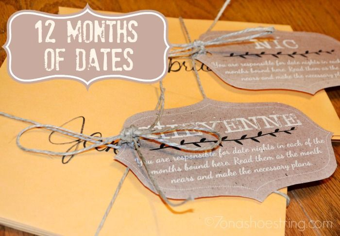 12 Months of Dates for Couples; date ideas; Christmas. Wedding, Anniversary gifts; gift idea for couples