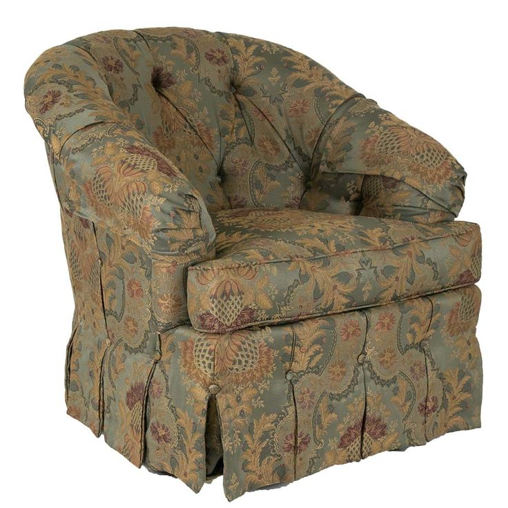 Barrel back accent chair by ethan allen has a button