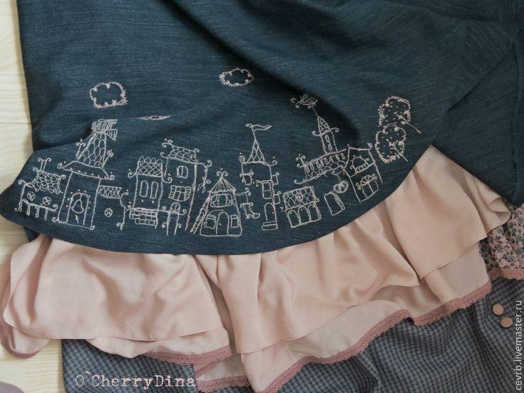 """Юбка """"Прогулка пани"""" - юбка,длинная юбка,юбка бохо,оборки,вышивка,кружево"""