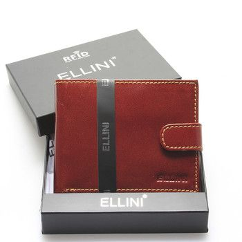 Elegantní prošívaná světle hnědá pánská kožená peněženka Ellini. Tahle kožená peněženka která působí luxusním dojmem a přitom je za rozumnou cenu, Vás bude reprezentovat opravdu při každé příležitosti. Vejdou se do ní mince, bankovky, samozřejmě také kreditní karty, či doklady. Je zavíratelná na cvoček.