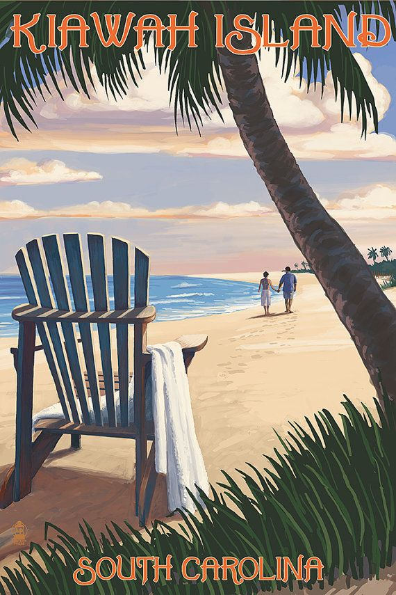 Kiawah Island, South Carolina - Adirondack and Palms (Art Prints available in multiple sizes)
