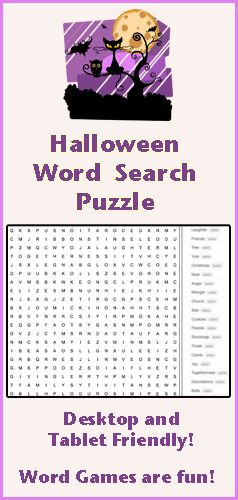 find all the halloween words hidden in this word search puzzle for kids a free online word game from squiglys playhouse - Halloween Word Game