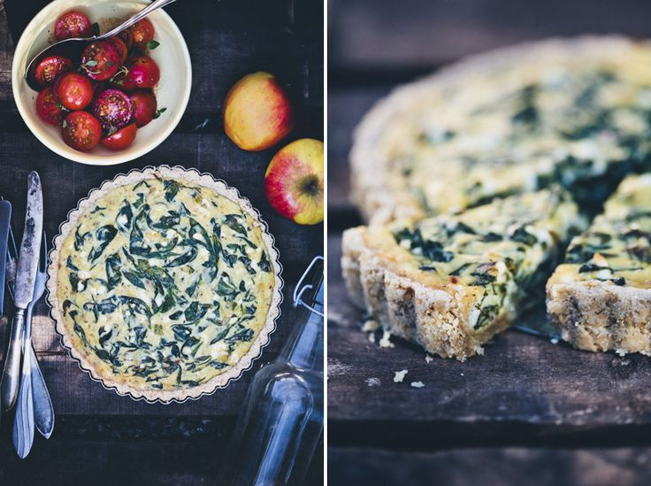 Spinach Feta Pie with an Oat Crust - Green Kitchen Stories