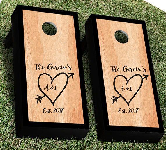 Rustic Heart with Arrow Wedding Cornhole Decal Set of 2