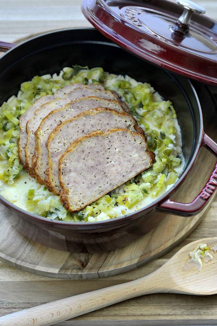 Preistoemp met gehaktbrood http://www.njam.tv/recepten/preistoemp-met-gehaktbrood
