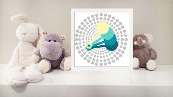 Rattle printable nursery art instant download by MonsterTots