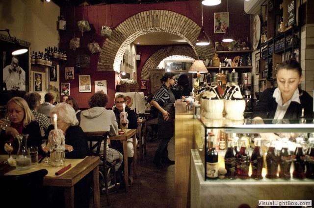 Cantina e Cucina restaurant in Rome, via del Governo Vecchio, very close to Navona place. Very good food, staff talking at least English, German, French...and Italian ! I recommend the Tiramisu de la casa, unique.