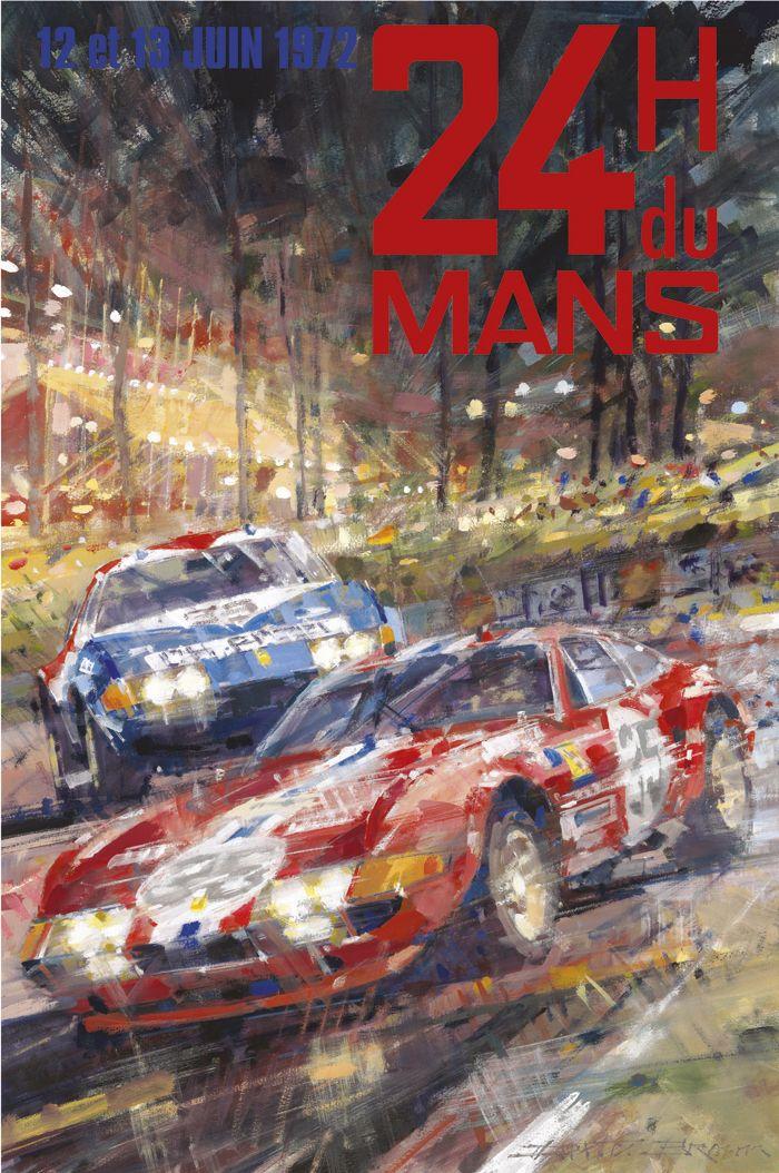 PEL218: '1972 Le Mans 24 Hours' by Dexter Brown - Vintage car posters - Art Deco - Pullman Editions - Ferrari