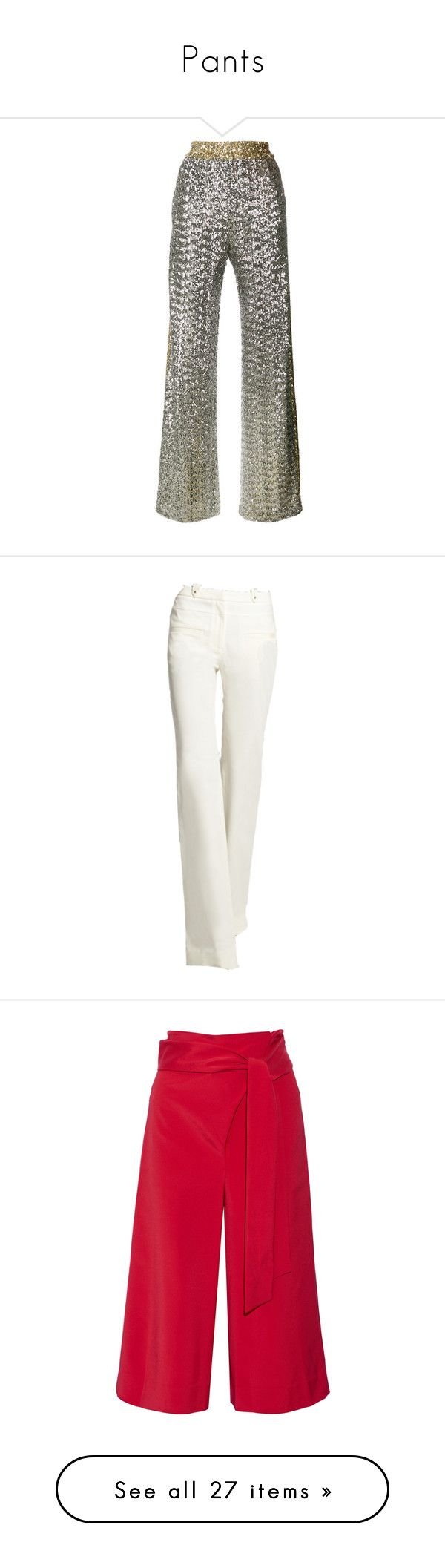 """Pants"" by onesweetthing ❤ liked on Polyvore featuring pants, metallic, white sequin pants, faith connexion, sequin pants, sequin trousers, metallic trousers, bottoms, edit and capris"