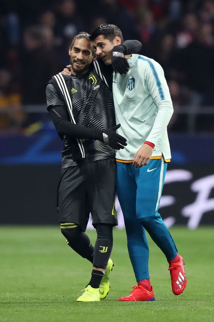 Madrid Spain February 20 Martin Caceres Of Juventus Speaks To Alvaro Morata Of Atletico Madrid Prior To The Uefa Cha Alvaro Morata Juventus Atletico Madrid