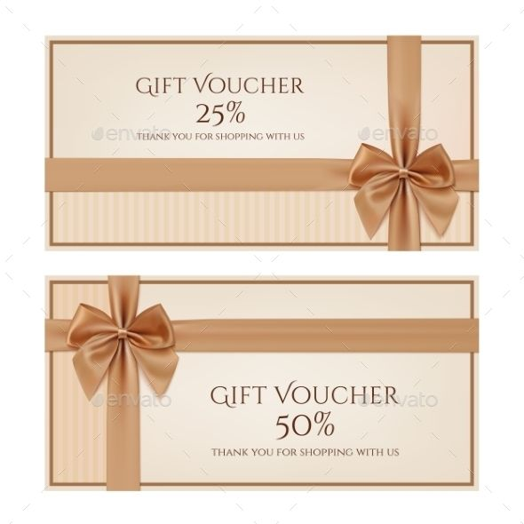 Gift Voucher Template with Golden Ribbon - Commercial / Shopping Conceptual