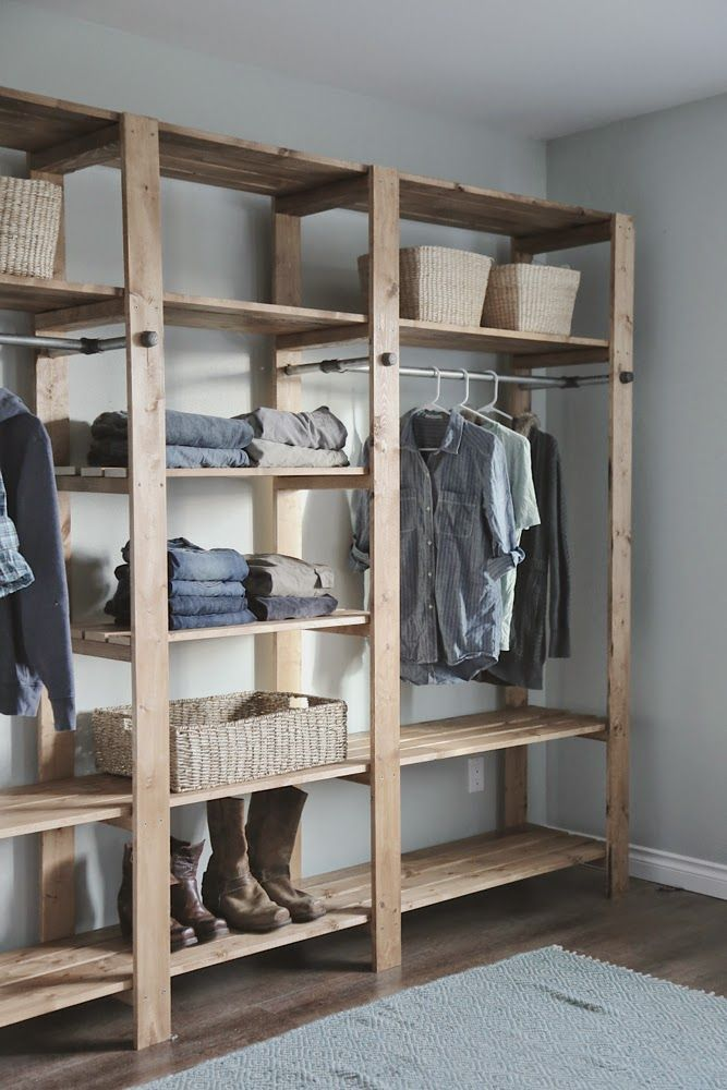 Ana White | Industrial Style Wood Slat Closet System With Galvanized Pipes    DIY Projects