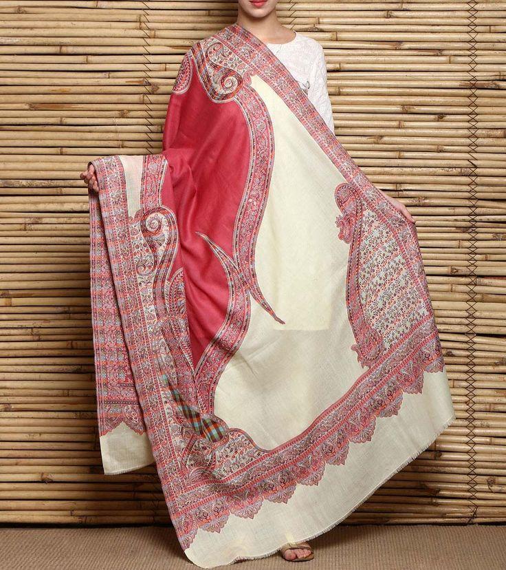 #White Kani Work Semi #Pashmina #Shawl by #Kashmiriyat at #Indianroots Was $700 | Is $315