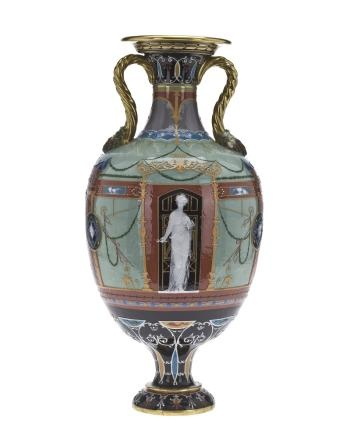 DescriptionColoured and glazed porcelain vase decorated in Pompeiian style with coloured slips and gold, with a female figure in front in pâte-sur-pâte holding a door key: English, Stoke-on-Trent, by Minton and Company, decorated by Marc Louis Solon, 1876 - 1877