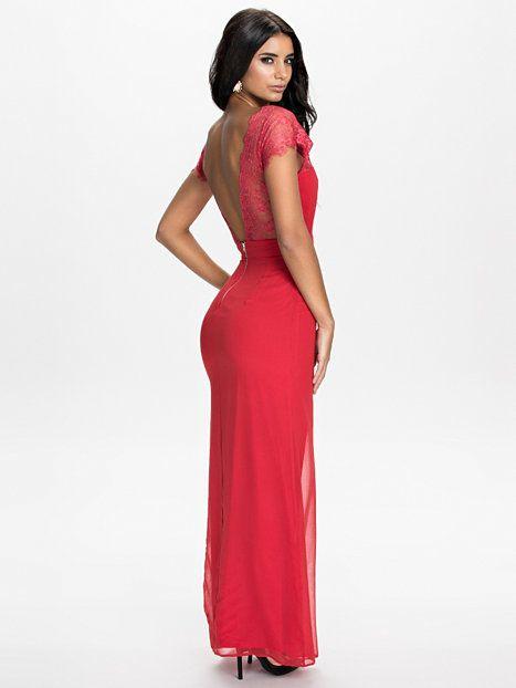Lace V Back Maxi Dress - Elise Ryan - Rood - Feestjurken - Kleding - Vrouw - Nelly.com
