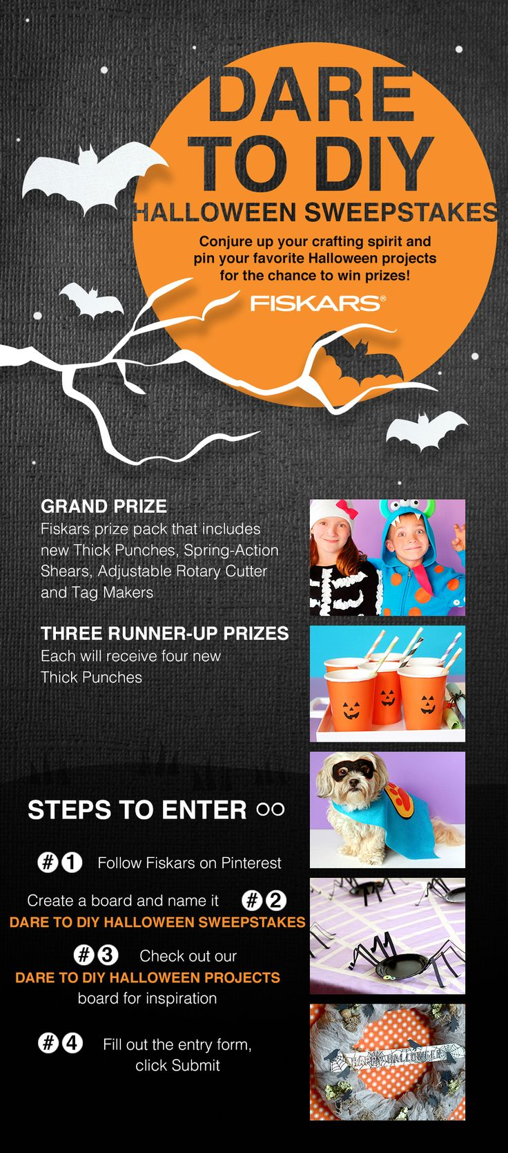 Follow @Fiskars_HQ and pin your favorite Halloween projects for a random chance to win a Fiskars Prize Pack! Promotion runs from October 5 through October 30, 2015. Enter here: http://cur.lt/1WIMqNO